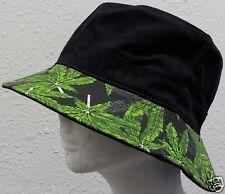 MARIJUANA LEAF POT HEMP KUSH PLANT CANNABIS CHRONIC WEED SWAG BUCKET CAP HAT S/M
