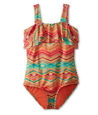 NEW O'Neill Girls 7 1 Pc Swimsuit Sunsets Ruffled One Piece Orange Red Stripe