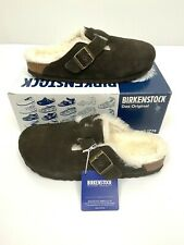 Birkenstock Boston Fur Men's Clogs 8-8.5 Narrow Fit Mocha EU 41 Suede Shoes New