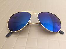 Aviator Sunglasses Hot BLUE Mirror Lens New Men Women Fashion Gold Frame Retro