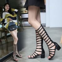 Womens Ladies Heels Knee High Sandals Gladiator Leather Summer Cut Out Shoes
