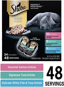 Sheba Perfect Portions Cuts in Gravy Wet Cat Food Tray Variety Packs 48 servings