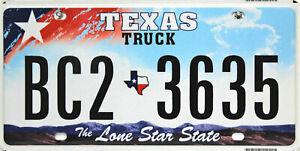 Texas License Plate, Original Plaque D'Immatriculation USA BC2 3635