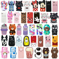 For iPhone XSMax 6 7 8Plus Case Cover 3D Cute Cartoon Animals Soft Silicone Skin