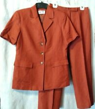 Kasper Women's 10P 2 Pc Brick Red Pantsuit Linen Rayon Blend SS Fully Lined Exc