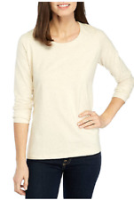 Kim Rogers Stretch Cotton L/S Scoop Neck Tee Top L Ivory  Msrp. $28.