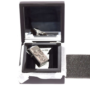 """ZIPPO ON STAGE """"ELEPHANT"""" BRUSHED CHROME EMBLEM LIGHTER in MIRROR BOX"""