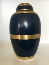 Blue and Gold Large Cremation Urn for Adult, Ashes, Funeral, Memorial, Urn 10""
