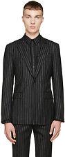 GIVENCHY 3595$ Authentic New Slimfit Black Wool Pinstripe Runway Blazer sz 46 36