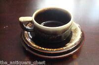 PFALTZGRAFF Pottery GOURMET Brown Drip 4 trios, flat cup, saucer & dessert plate