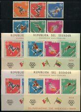 ECUADOR 1967 Olympiade Olympics 1325-30 + Blocks 37-38 A/B **