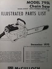 Mcculloch Chain Saw 795l 600127 Parts Manual 2 Cycle Gasoline Chainsaw 1970