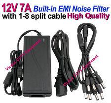DC 12V 7A 84W Power Supply EMI Filter 1-8 Split Cable for CCTV CAMERA DVR System