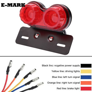 Motorcycle LED Dual Twin Turn signal Brake License Plate Integrated Tail Light
