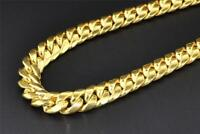 """10K Yellow Gold Miami Cuban Semi Hollow 7mm Wide Chain 36"""" Necklace"""