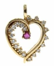 Ruby and Diamond Heart Pendant in 14kt Yellow Gold