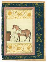 Hand-Painted Persian Miniature Old Painting Real Gold & Gouache Artwork On Paper