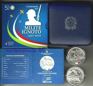 ITALIA moneta 5 € euro argento colorata Fdc Centenario Milite Ignoto 2021