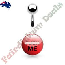 316L Surgical Steel Belly Ring with F*ck Me Logo