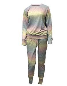 Womens Ladies Melange Lounge wear Top Bottom Sleepwear Joggers Tracksuit pants