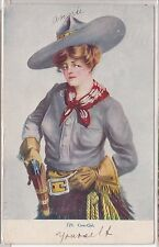 Illustrated PC - Cowgirl with Pistol - 1908 - Williamson Haffner Co.