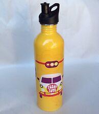 Peace Love Smile Hipster Retro VW Kombi Pattern Yellow Aluminum Water Bottle
