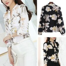 Women Autumn Long Sleeve V-Neck Print Chiffon Blouse Slim Office Lady Shirt Tops