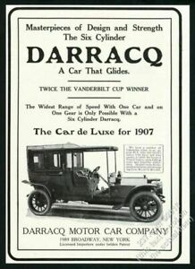 1907 Darracq enclosed car photo vintage print ad