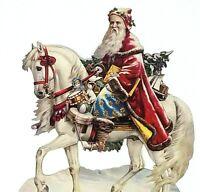 St Nicholas on Horse Stallion Ornate Bridle Victorian Santa Claus Die Cut 3660