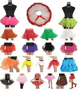 Girls TuTu Skirt Polka Dot Satin Ruffle Petticoat Burlesque Layers Fancy Dress