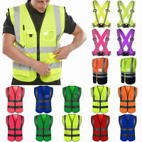 Hi Vis Viz Safety Vest High Visibility Waistcoat Reflective Tape Work Jacket Top