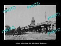 OLD LARGE HISTORIC PHOTO OF HAVERHILL MASSACHUSETTS, THE RAILROAD STATION c1910