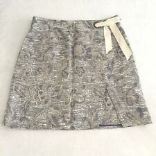 Maeve Anthropologie Blue White Gray Floral Embroidery Skirt Career Women's Sz 14