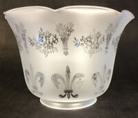 """4"""" Fitter Frosted FLEUR-DE-LIS ETCHED FILIGREE GLASS GAS FLOOR LAMP SHADE #8544"""