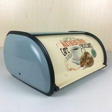 Bread Box Kitchen Storage Food Container Roll Up Top Vintage Retro Iron Bin BLUE