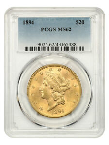 1894 $20 PCGS MS62 - Liberty Double Eagle - Gold Coin