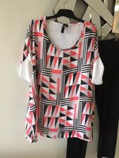 TS TAKING SHAPE Pink Black White Grey Short Cap Sleeve Tunic top Blouse 12 BNWOT