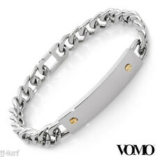 VOMO Curb Chain ID Style Bracelet in Stainless Steel.18k Gold Inlay,From Italy
