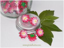 Bellis daisy flower charms beads handmade polymer clay 10x spring pompoms
