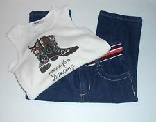 "Old Navy Toddler Girls Denim Capri Jeans + ""Made For Dancing"" Tank Top 4T NWT"