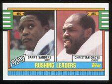 1990 Topps Rushing Leaders Barry Sanders / Christian Reed #28 Detroit Lions