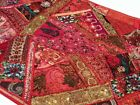 """33% OFF 60"""" RED EXQUISITE DÉCOR HEAVILY BEADD SARI KUNDAN WALL HANGING TAPESTRY"""