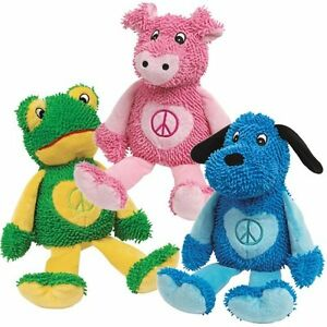 Zanies PEACE PARTY Dog Toy Squeaker Soft Moppy Plush Puppy Play Bright Colors