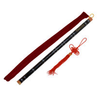 Chinese Bamboo Flute Dizi Musical Instrument F Key Black Paint Traditional