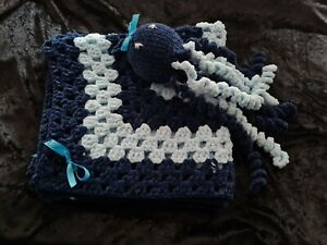 handmade baby blanket and toy navy and baby blue Cot, pram, cradle, car seat
