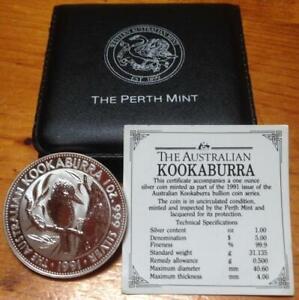 1991 $5 KOOKABURRA...SILVER SPECIMEN 1 OZ COIN in ORIGINAL BLACK CASE.