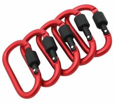 Red SNAP HOOK Carabiner Clips ~ 78mm Long ~ WEATHER PROOF ~ Secure Screw Locking