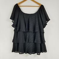 Autograph Size 18 Black Ruffled Layered Blouse Sheer Sleeves Striped Evening