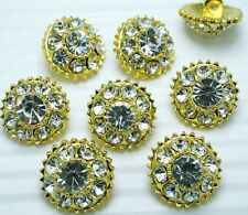8 Sparkling 12mm Clear Crystal/Rhinestone Gold Metal Sewing Buttons K050