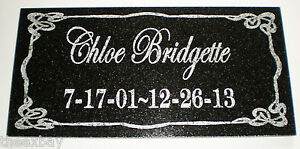 "6"" x 12"" Name & Date Pet Memorial GRANITE Grave Marker Stone Ornate Border 1"